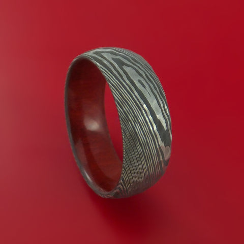 Damascus Steel Hammered Ring with Red Heart Wood Sleeve Custom Made