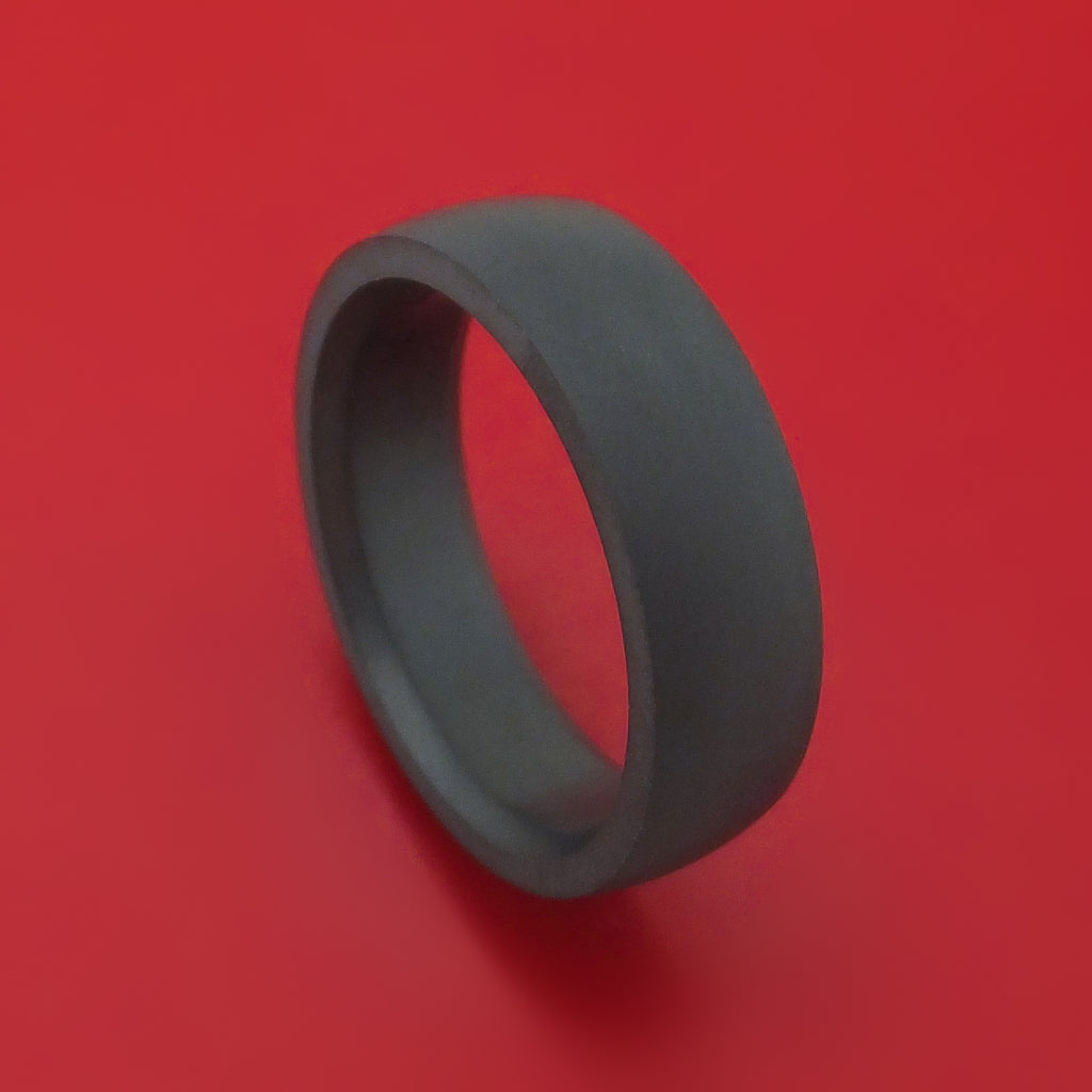 Elysium Black Diamond Slim Wedding Band Domed With Matte Finish