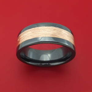 Black Zirconium Ring with 14k Rose Gold Inlay Custom Made Band