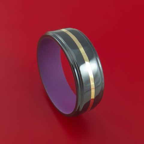 Black Zirconium with 14k Yellow Gold and Wild Purple Cerakote Sleeve Custom Made Band