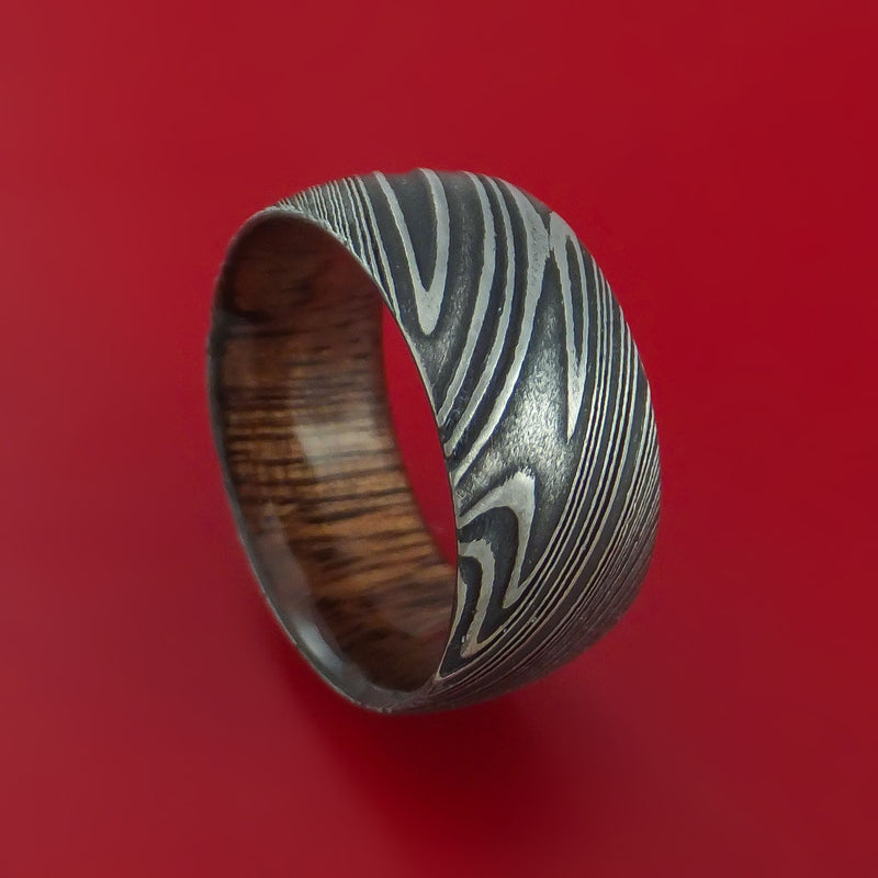 Kuro Damascus Steel Ring with Koa Wood Hardwood Sleeve Custom Made Wood Band