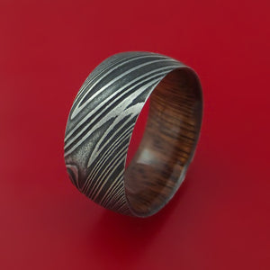 Wide Kuro Damascus Steel Ring with Interior Hardwood Sleeve Custom Made Band