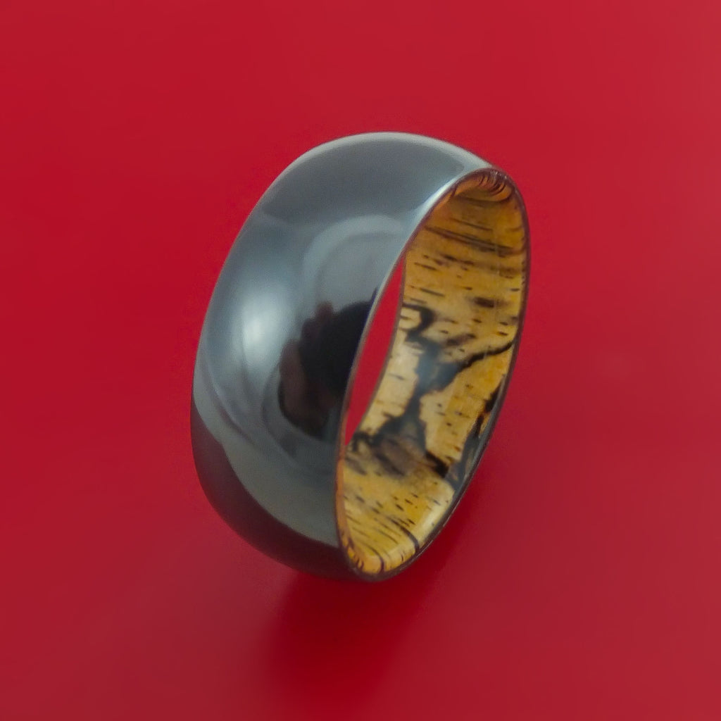 Black Zirconium and Spalted Tamarind Wood Hard Wood Sleeve Ring Custom Made