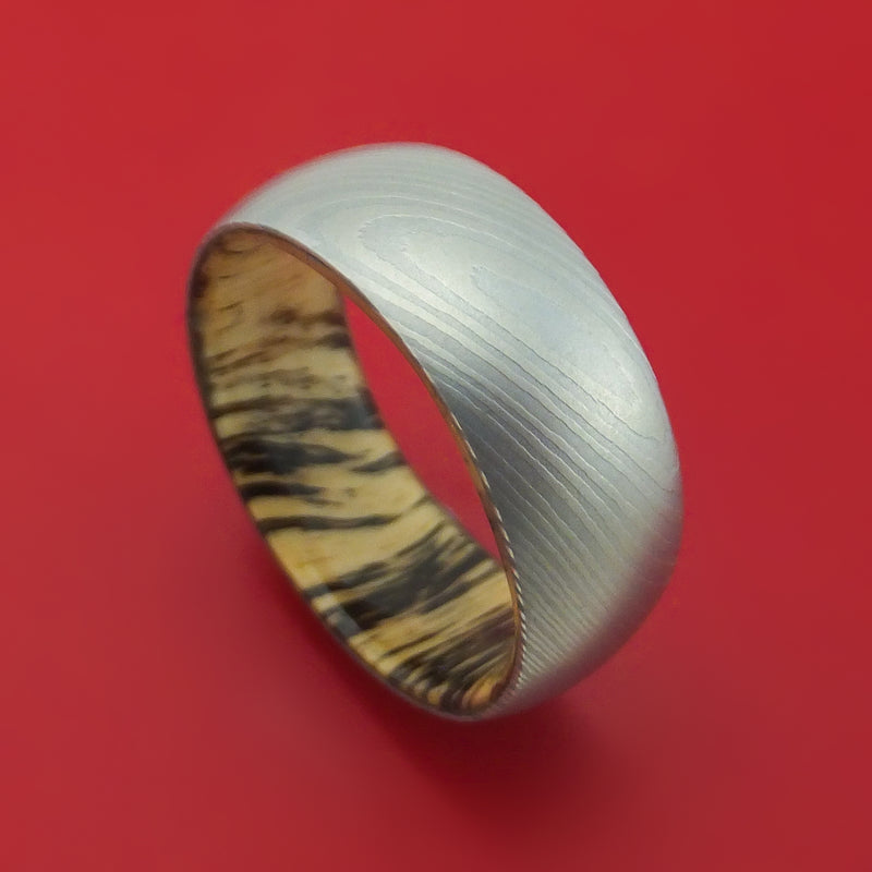 Damascus Steel and Hardwood Ring Custom Made Band
