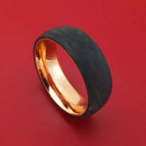 Solid Forged Carbon Fiber Ring with 14K Rose Gold Sleeve
