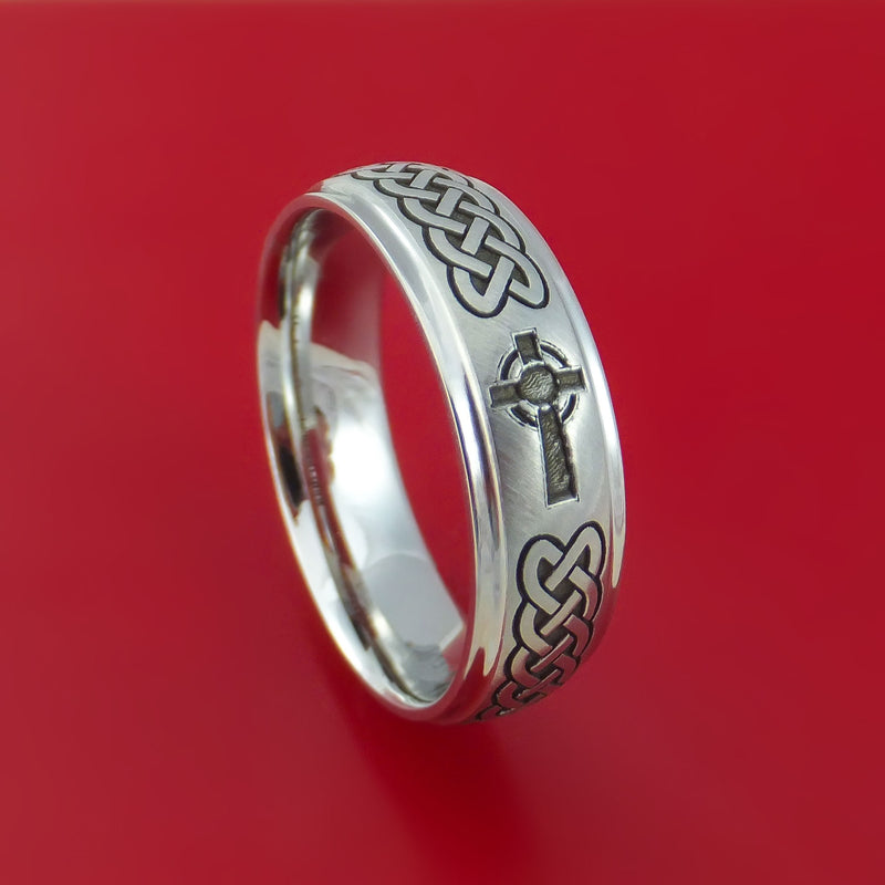 Cobalt Chrome Celtic Band Irish Knot Cross Ring Carved Pattern Design