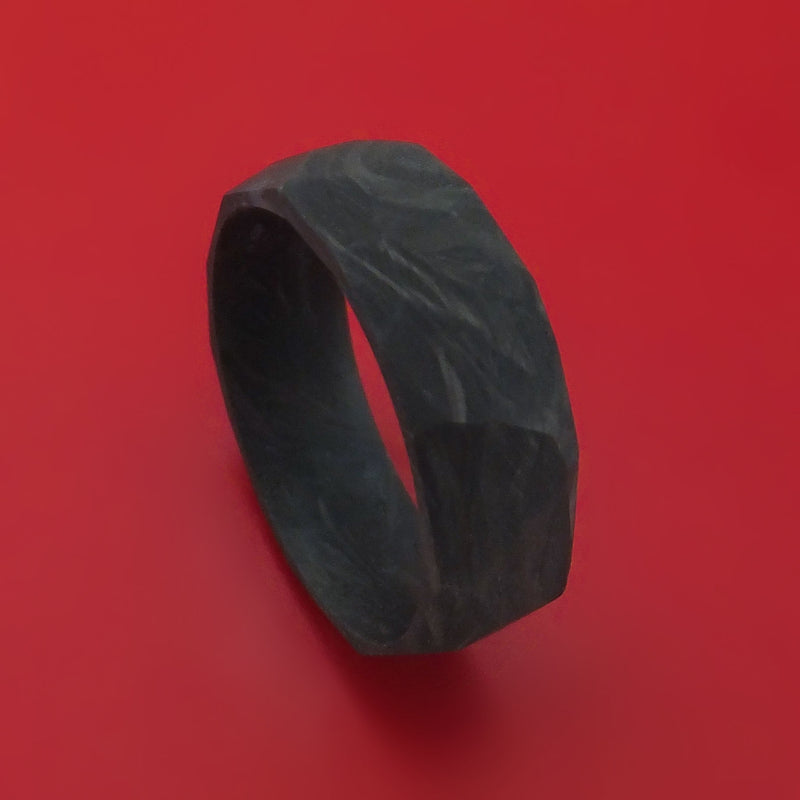 Solid Forged Carbon Fiber Faceted Ring