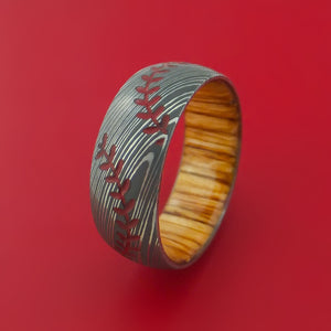Damascus Steel Ring with Baseball Dual Stitching and Cerakote Inlays and Interior Hardwood Sleeve Custom Made Band