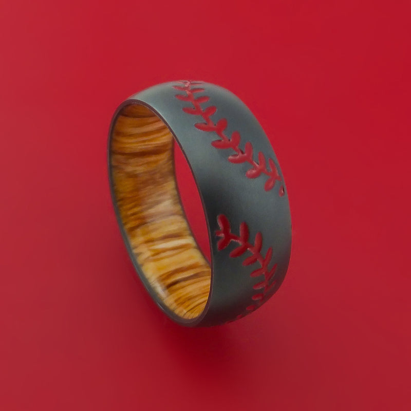 Black Zirconium Ring with Baseball Dual Stitching and Cerakote Inlays and Interior Hardwood Sleeve Custom Made Band
