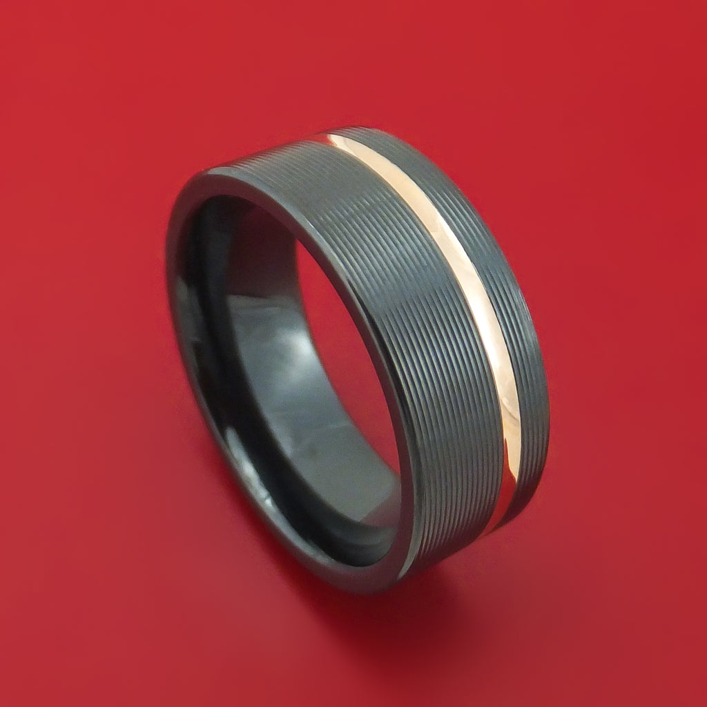 Black Zirconium and 14K Gold Ring Custom Made Band