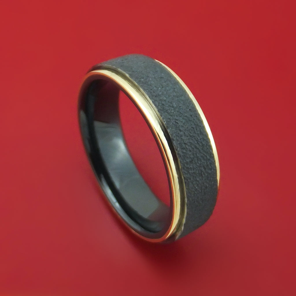 Black Zirconium Ring with 14k Gold Edges Custom Made Band