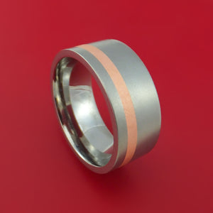 Wide Titanium Ring with Copper Inlay Custom Made Band
