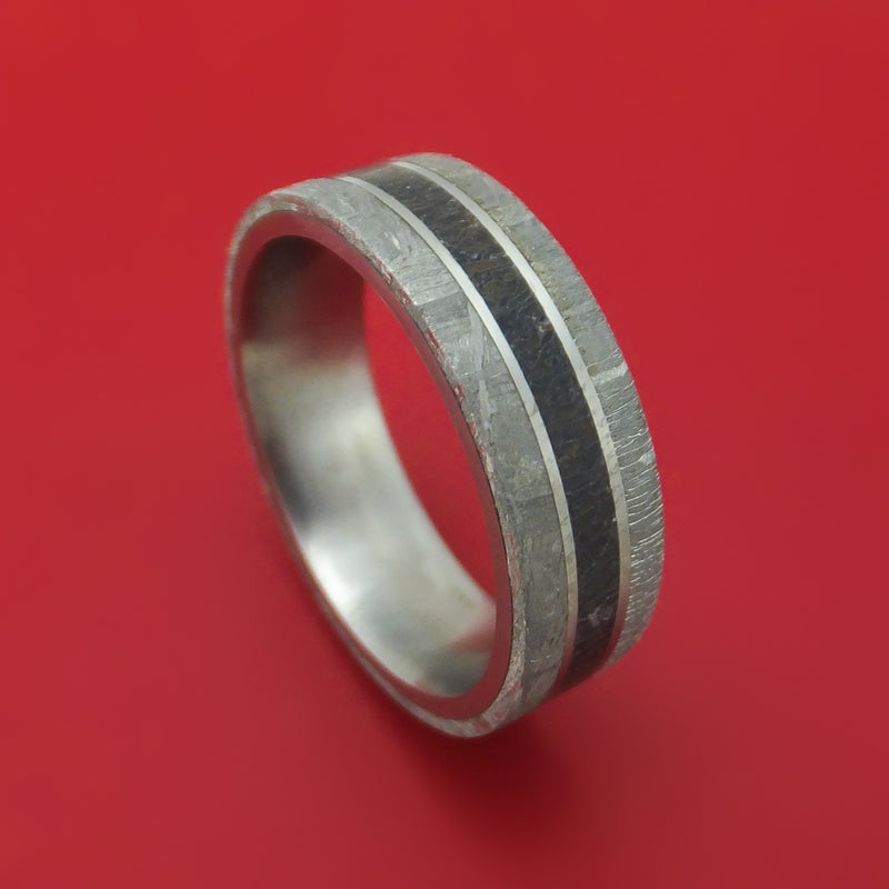 Titanium Ring with Dinosaur Bone and Gibeon Meteorite Custom Made Band