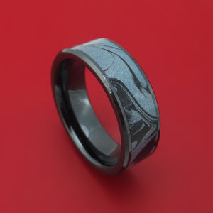 Black Ceramic Ring With Cobaltium M3 Mokume Custom Made