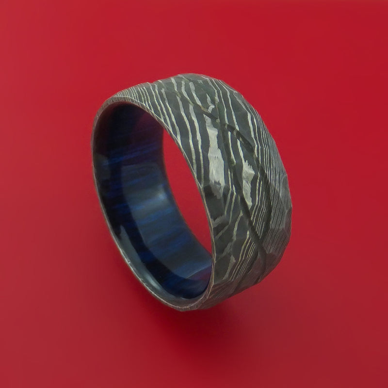 Wide Hammered Damascus Steel Ring with Infinity Milled Celtic Design Inlay and Interior Hardwood Sleeve Custom Made Band