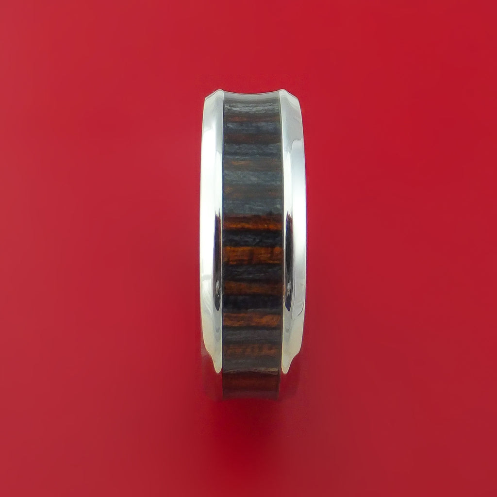 Cobalt Chrome and WOOD Ring inlaid in COFFEE WOOD Custom Made to Any Size and Optional Wood Type