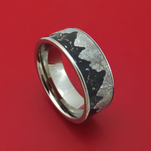 Titanium Moonscape Design Ring with Gibeon Meteorite and Black Stardust