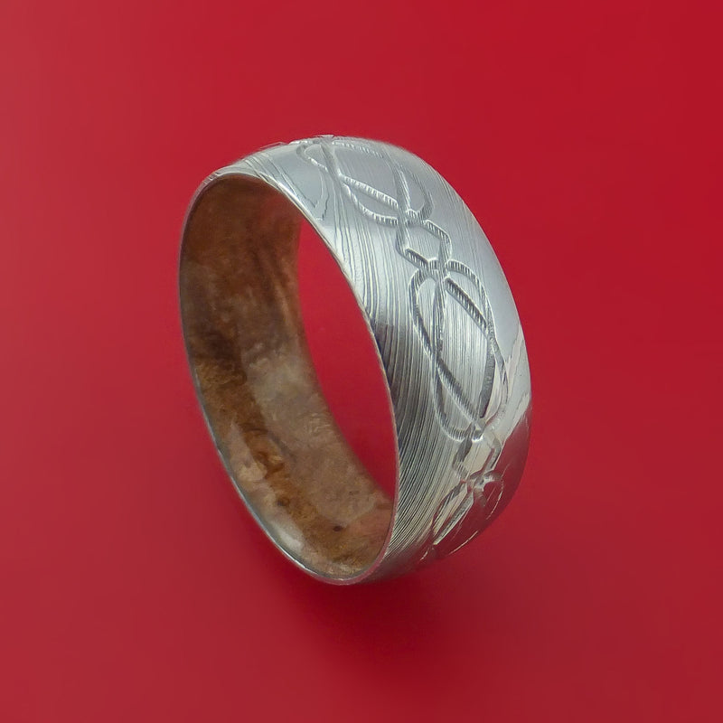 Damascus Steel Ring with Milled Celtic Design Inlay and Interior Hardwood Sleeve Custom Made Band