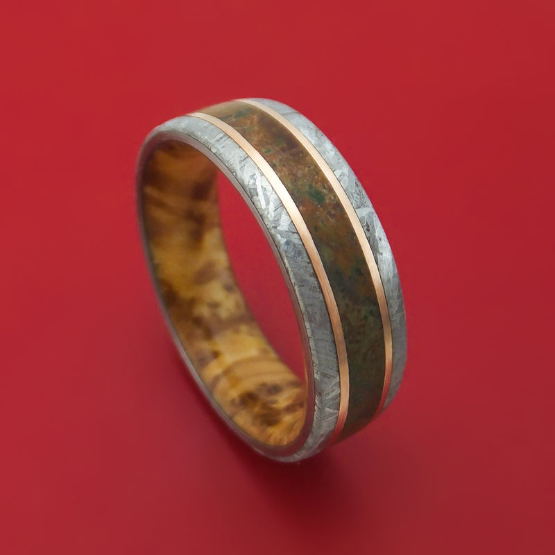 Gibeon Meteorite and Dinosaur Ring with 14k Rose Gold and Wood Sleeve Custom Made