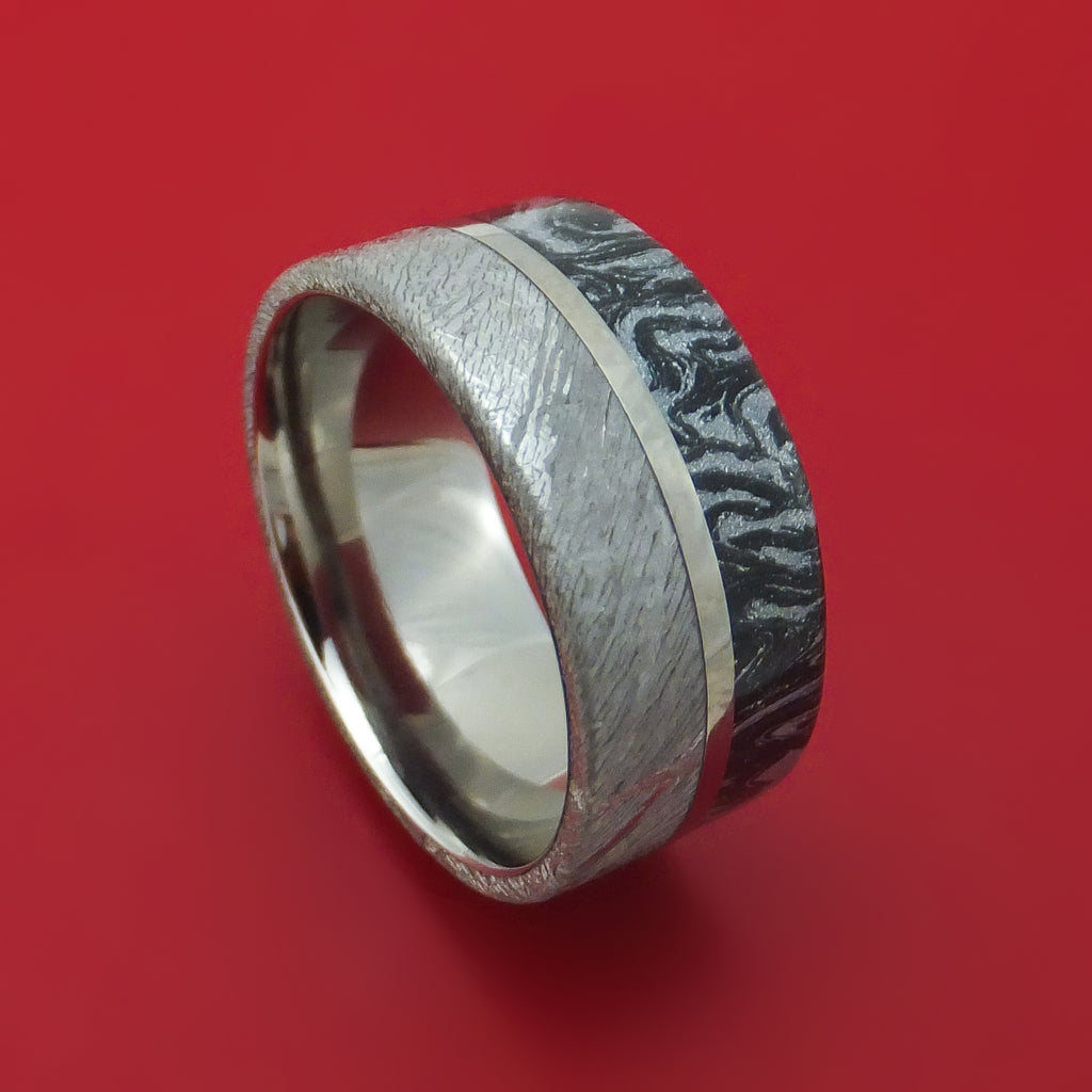 Titanium Ring With Gibeon Meteorite And M3 Mokume Custom Made