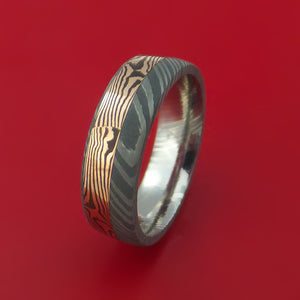 Damascus and 14k ROSE Mokume Gane GOLD Ring Wide Custom Made SHAKUDO