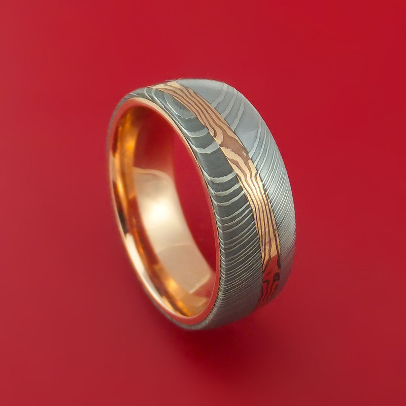 Damascus Steel Ring with Diagonal Rose Gold Mokume Shakudo Inlay and Gold Sleeve Custom Made