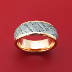 14K Rose Gold Ring with Seymchan Meteorite Custom Made Band