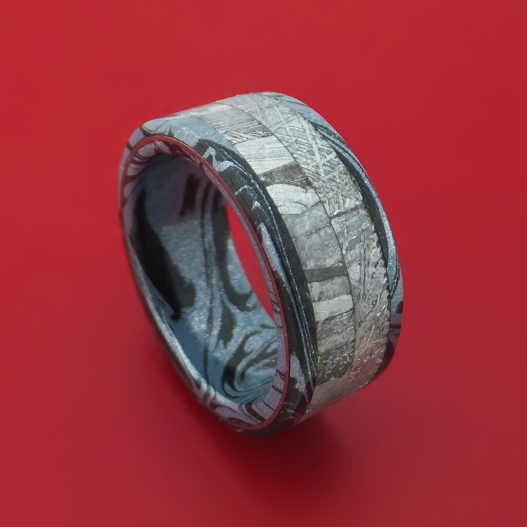 Cobaltium M3 Mokume Ring with Gibeon Meteorite and Seymchan Meteorite Custom Made Band