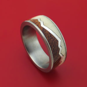 Titanium with Silver Mountain Design Ring with Two-Tone Wood Inlays Custom Made