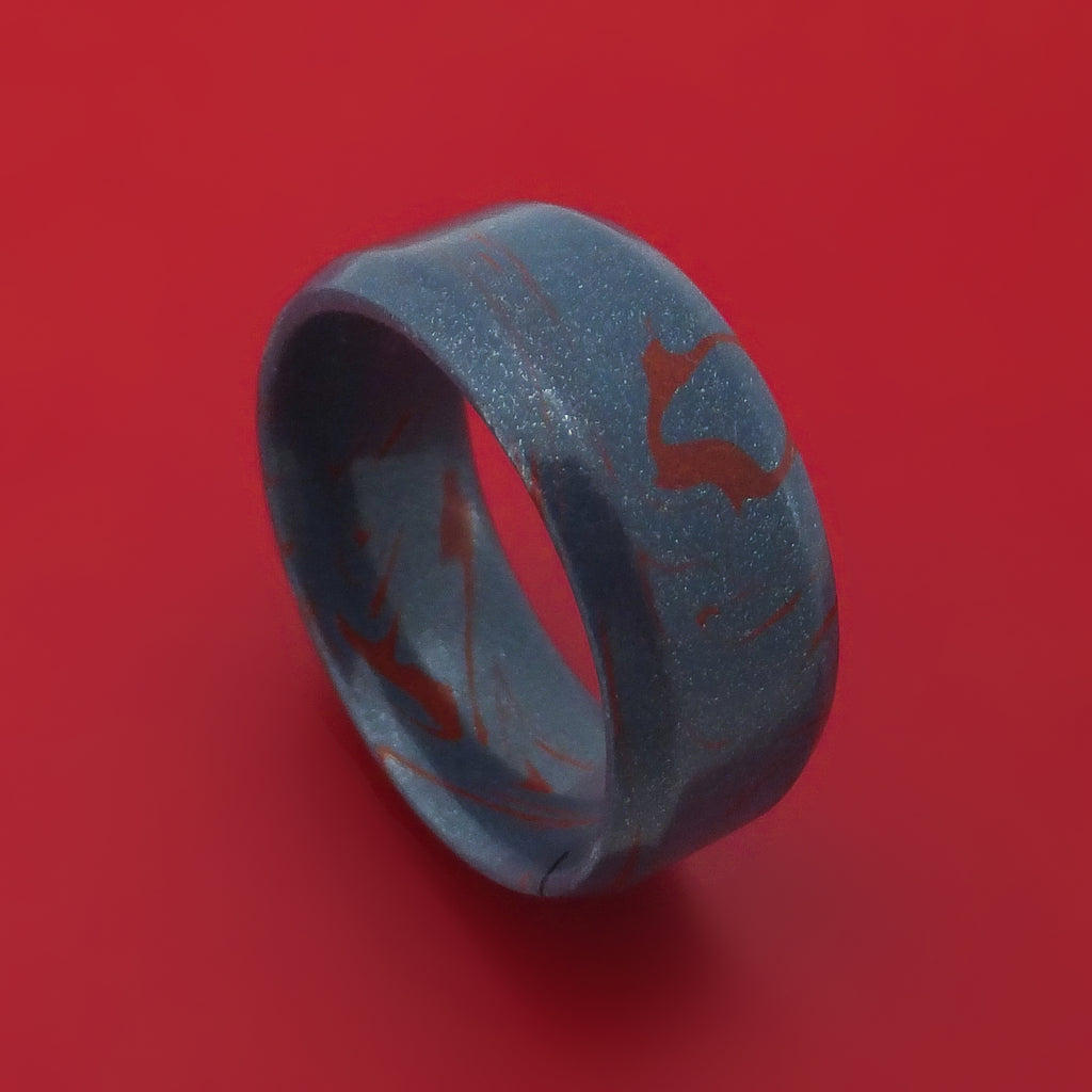Blue and Red M3 Mokume Ring Custom Made Band
