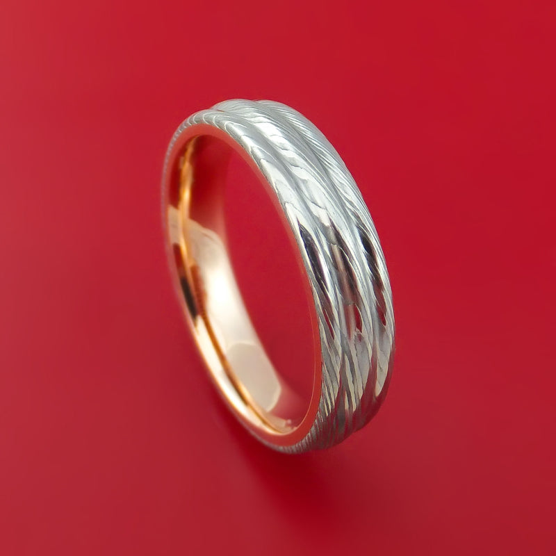 Damascus Steel Ring with 14k Rose Gold Sleeve Custom Made Band