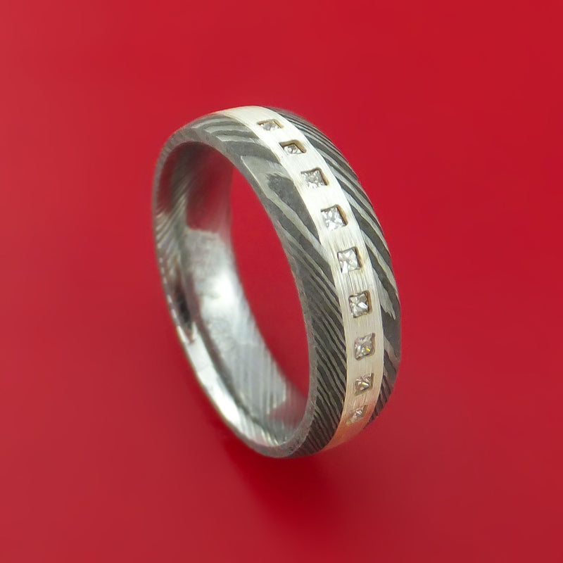 Damascus Steel Band with 9 Diamonds Set into a Silver Inlay Custom Made Ring