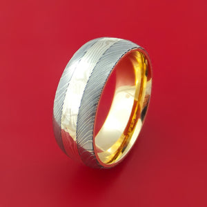 Damascus Steel and Mokume Ring with Yellow Gold Sleeve Wedding Band Custom Made