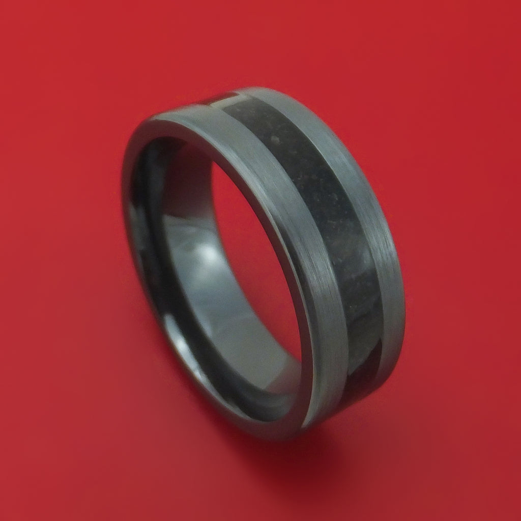 Black Zirconium and Dino Bone Ring Custom Made