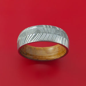 Damascus Steel Ring with Gibeon Meteorite Inlay and Interior Hardwood Sleeve Custom Made Band