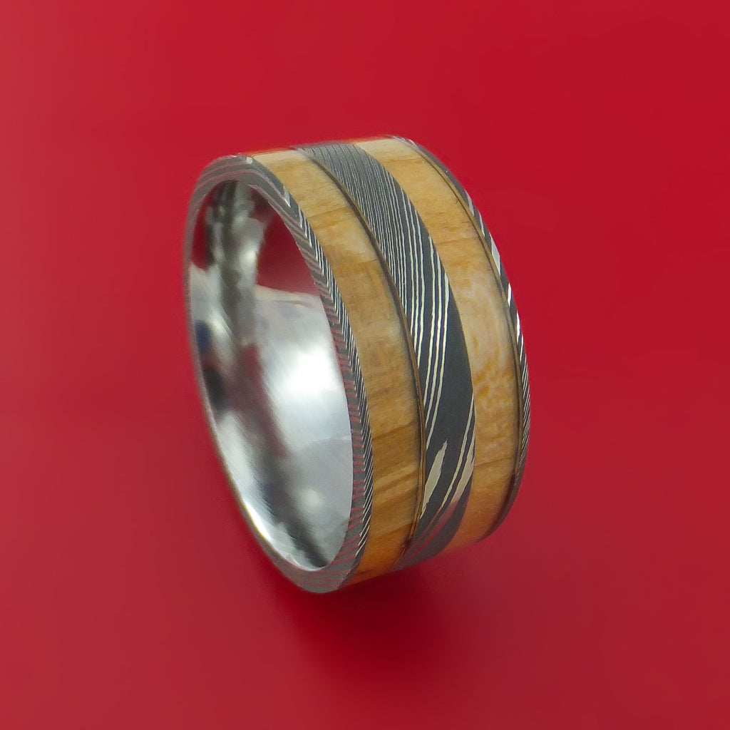 Wide Damascus Steel Ring with Hardwood Inlay Custom Made Band
