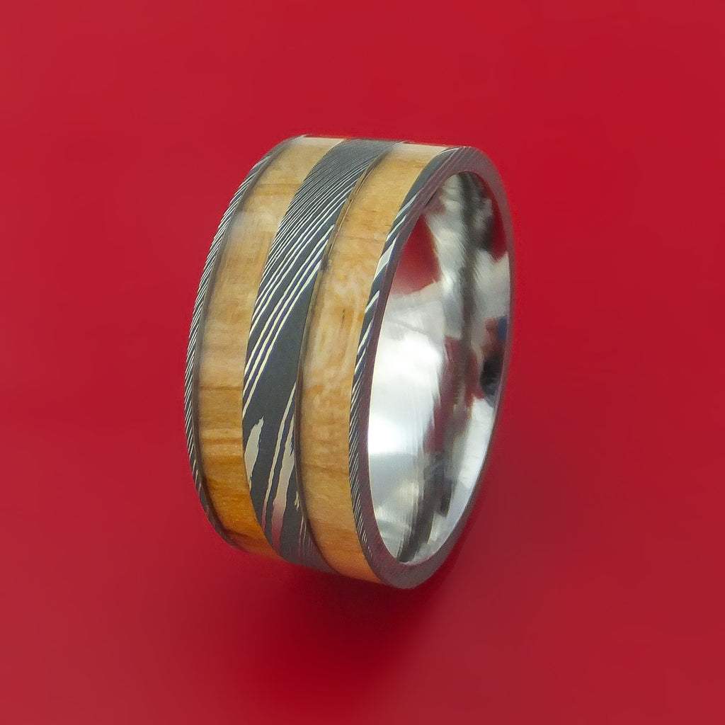 Damascus Steel and Cedar of Lebanon Wood Inlays Custom Made Ring