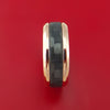 14k Rose Gold Ring with Black Carbon Fiber Inlay Custom Made Band