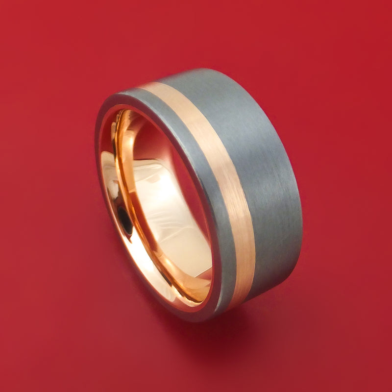 Tantalum and 14K Gold Ring with Inlay and Sleeve