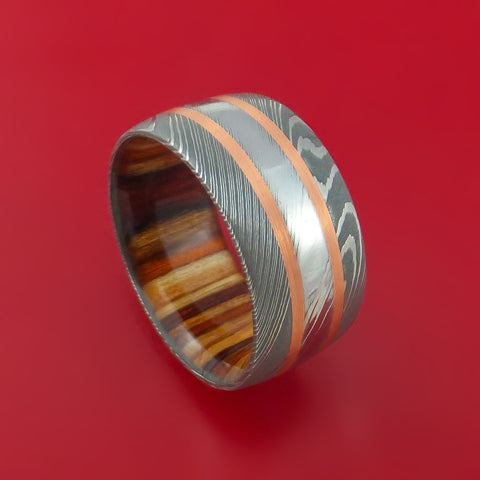 Damascus Steel Ring with Copper Inlays and Hazelnut Hard Wood Sleeve