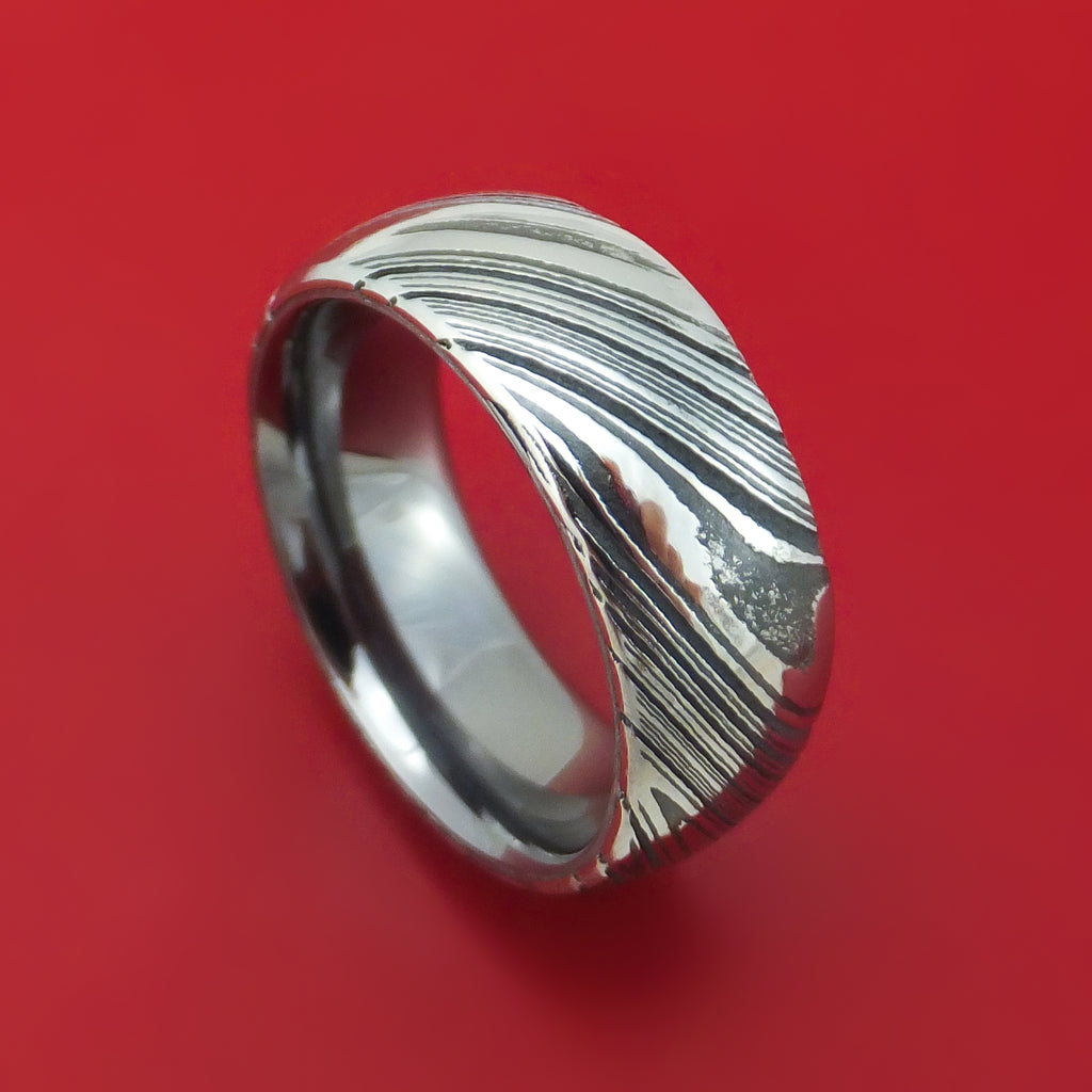 Kuro Damascus Steel Ring with Tantalum Sleeve Custom Made