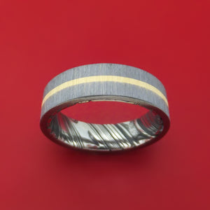 Tantalum and 14K Gold Ring with Damascus Steel Sleeve Custom Made