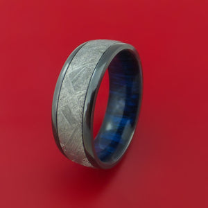 Black Zirconium Ring with Gibeon Meteorite and Blueberry Wood Sleeve Custom Made Band