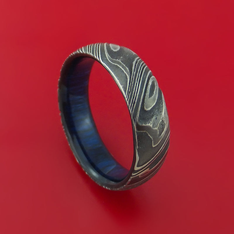 Kuro Damascus Steel Ring with Hardwood Sleeve Custom Made Band