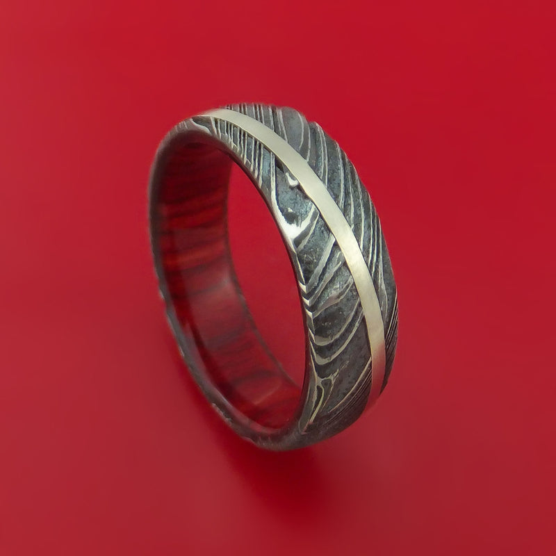 Kuro Damascus Steel Diagonal 14K White Gold Ring Wedding Band Wood Sleeve Custom Made