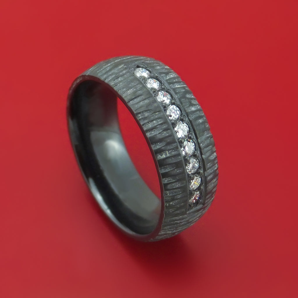 Black Zirconium and Lab Diamond Ring Custom Made