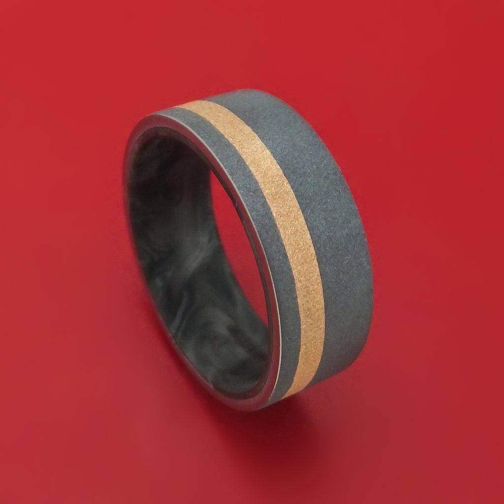 Tantalum Ring with 18K Gold and Forged Carbon Fiber