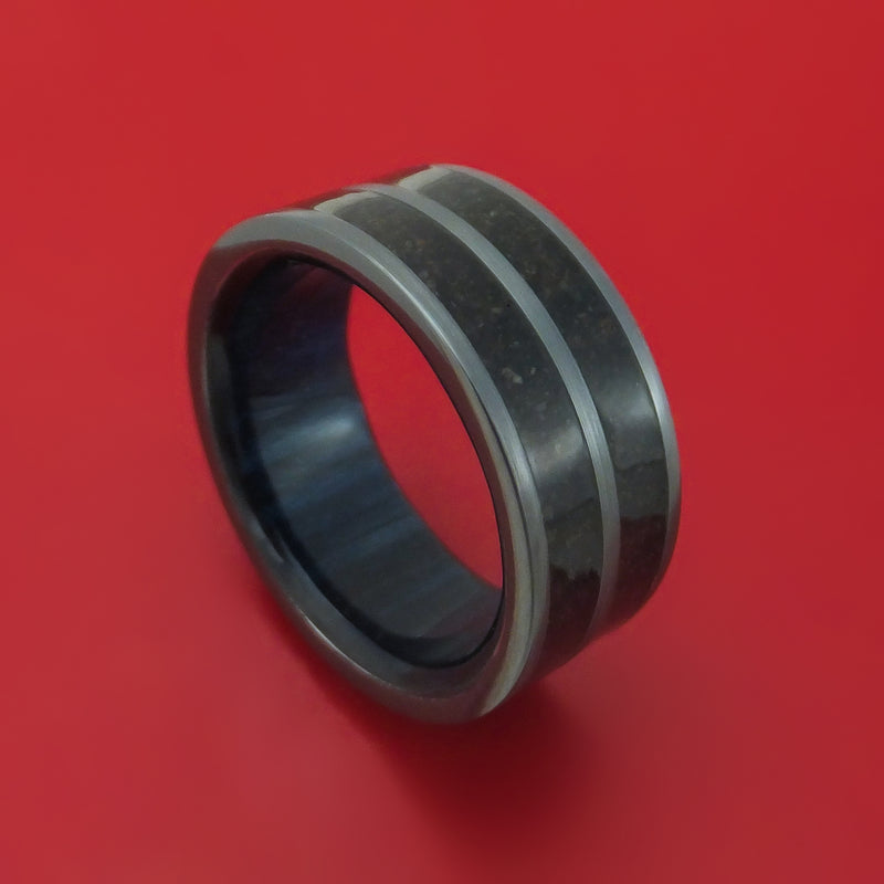 Black Zirconium Dinosaur Bone Ring with Hardwood Sleeve