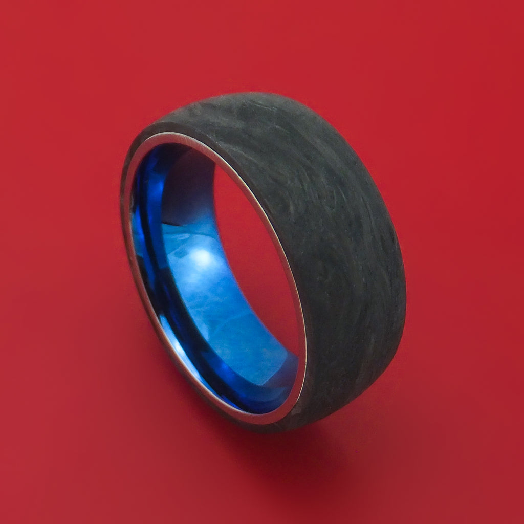Forged Carbon Fiber Ring with Anodized Titanium Sleeve Custom Made