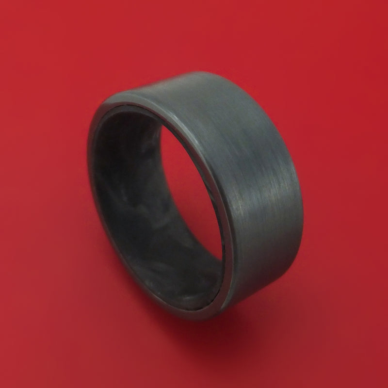 Black Zirconium Ring with Forged Carbon Fiber Sleeve Custom Made